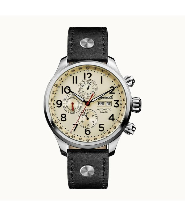 INGERSOLL I02301 The Delta men's watch, automatic, day display and black leather strap