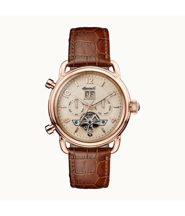 INGERSOLL I00901 The New England Herren-Uhr, Automatik, braunem Armband aus Leder