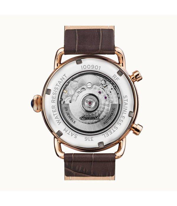 INGERSOLL Montre I00901 La Nouvelle-Angleterre les hommes, automatique, bracelet en cuir brun
