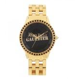 JEAN PAUL GAULTIER 8501602 goldene Uhr mit schwarzen Kristallen
