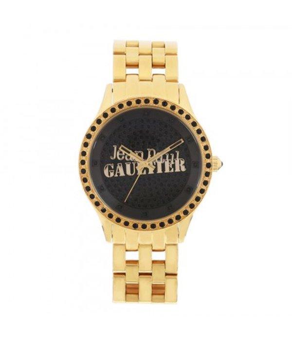 JEAN PAUL GAULTIER 8501602 montre en or avec des cristaux noirs