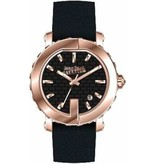 JEAN PAUL GAULTIER 8500516 ladies watch, rosé colored with black leather strap