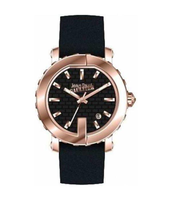 JEAN PAUL GAULTIER 8500516 Damenuhr mit schwarzem Lederarmband gefärbt rosé