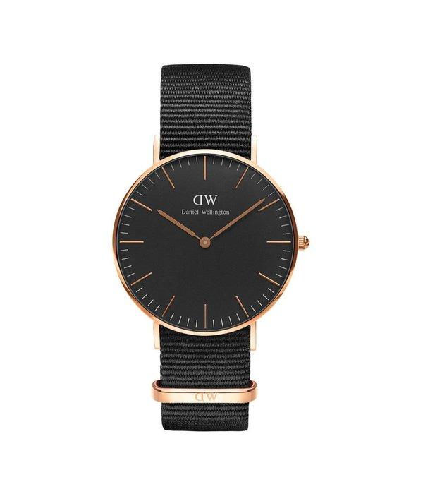 DANIEL WELLINGTON DW00100150 Classic Nato Black Watch, rose colored with black Nato strap