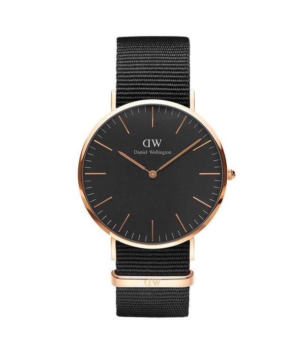 DANIEL WELLINGTON DW00100148 Classic Nato Black horloge, 40mm rosé kleurig met zwart Nato band