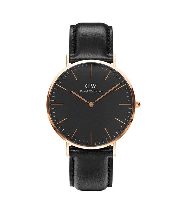 DANIEL WELLINGTON 40mm, cadran noir et bracelet en cuir DW00100127 classique Balck Sheffield montre