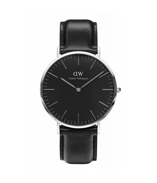 DANIEL WELLINGTON 40mm, cadran noir et bracelet en cuir DW00100133 classique Balck Sheffield montre