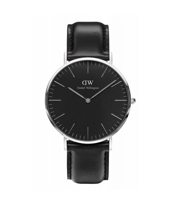 DANIEL WELLINGTON DW00100133 Classic Balck Sheffield horloge 40mm, zwarte wijzerplaat en leder band