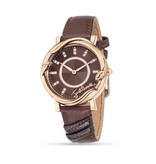 JUST CAVALLI R7251551501 Just Mirage ladies watch, rosé-colored on brown leather strap