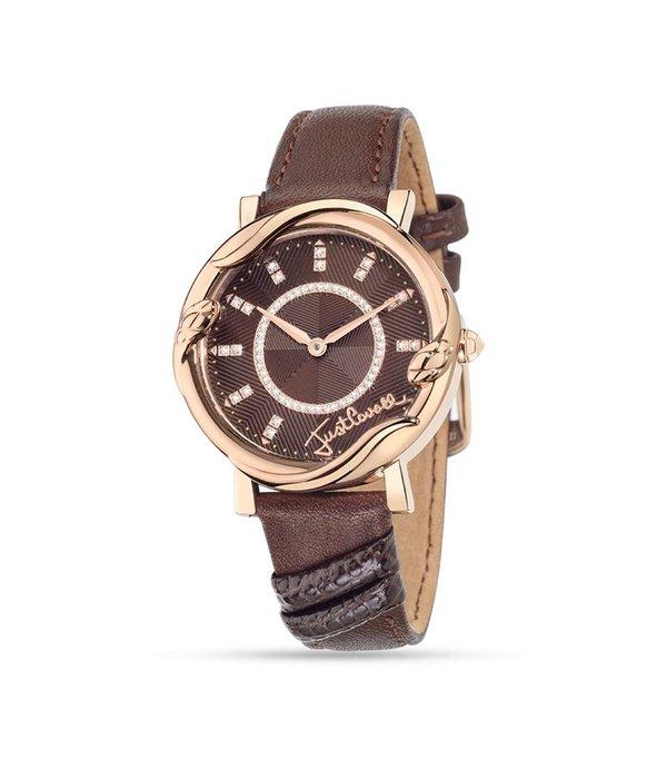 JUST CAVALLI dames R7251551501 Juste Mirage regarder, rose sur bracelet en cuir brun