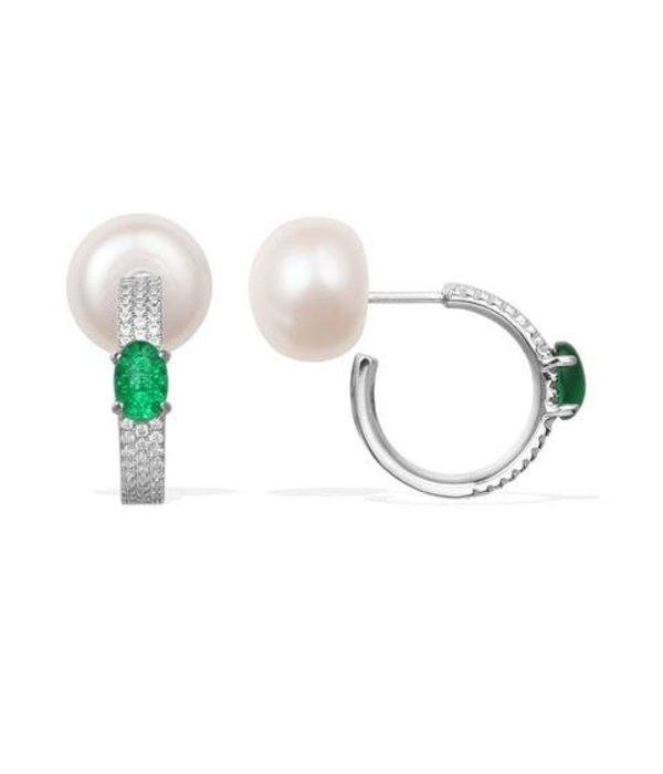 APM MONACO AE9586XGPL Ohrringe MENTHE A L'EAU in Silber mit Perle und grüne Kristalle