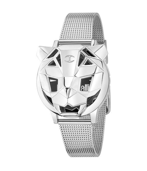 JUST CAVALLI R7251561503 JUST TIGER WATCH SILVER COLORED WITH BLACK DIAL