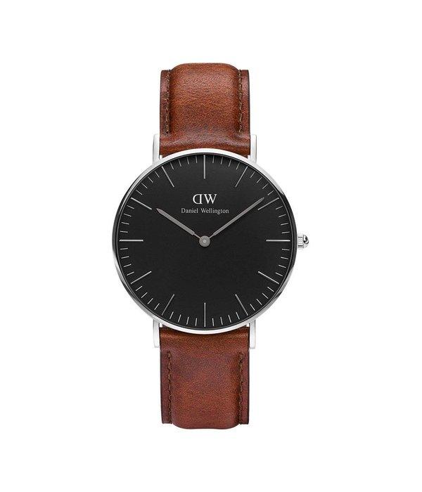 DANIEL WELLINGTON DW00100142 ST MAWES 36MM WATCH avec cadran noir et bracelet en cuir brun