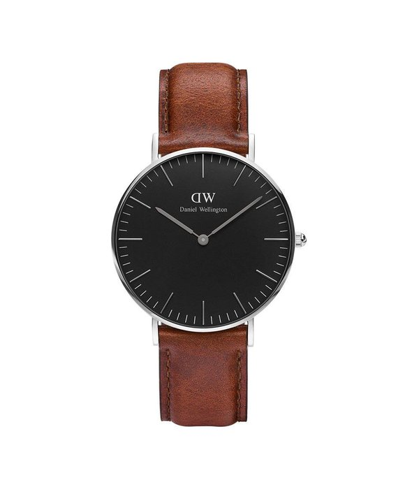 DANIEL WELLINGTON DW00100142 ST MAWES 36MM WATCH WITH BLACK DIAL AND BROWN LEATHER STRAP