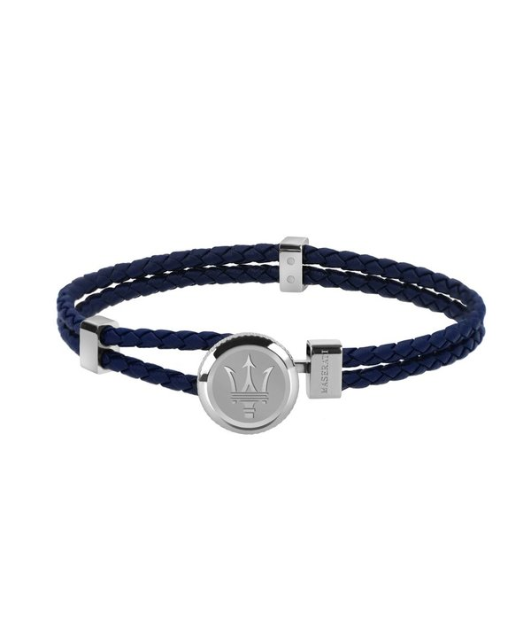 MASERATI  JM416AIK17 - Herren Armband - BLUE LEATHER - SILBER - 21,5 cm