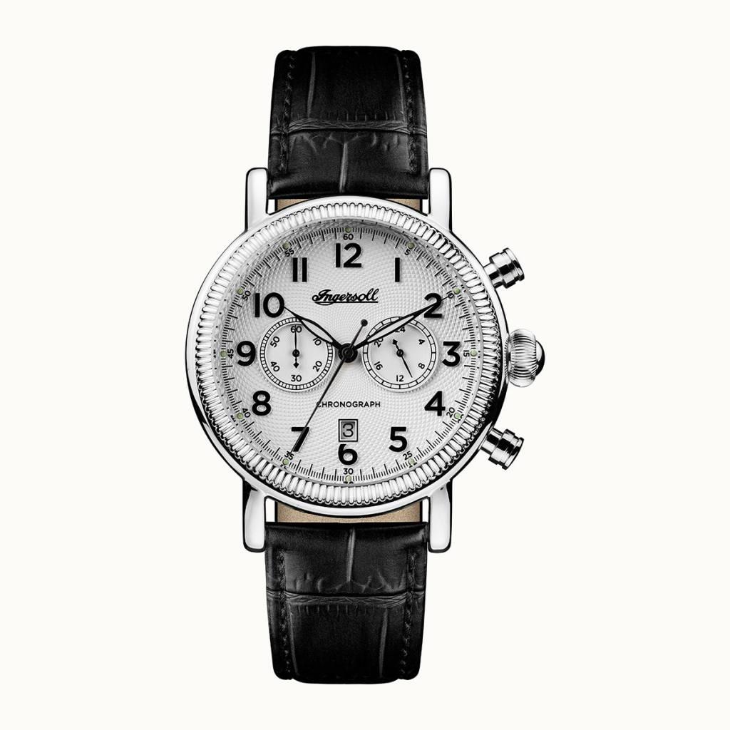 ingersoll i01002 daniells der m nner uhr chronograph mit schwarzem lederarmband. Black Bedroom Furniture Sets. Home Design Ideas