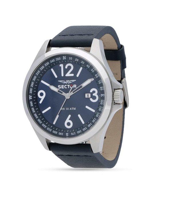 """SECTOR R3251180017 """"140"""" heren horloge met blauwe wijzerplaat en blauw leder band"""