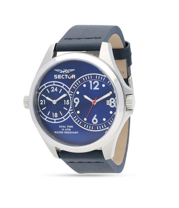 """SECTOR R3251180015 montre de """"180"""" hommes, double fuseau horaire, cadran bleu et bracelet en cuir"""