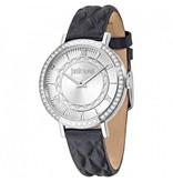 JUST CAVALLI R7251527504 Nur Stunden-Damenuhr mit Kristallen und schwarzem Lederarmband