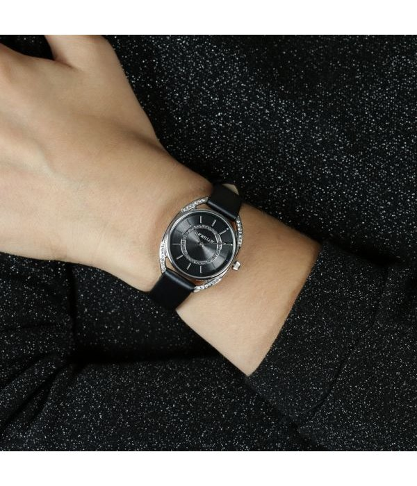 MORELLATO R0151137505 Tivoli dames horloge met krsitallen en zwart leder band