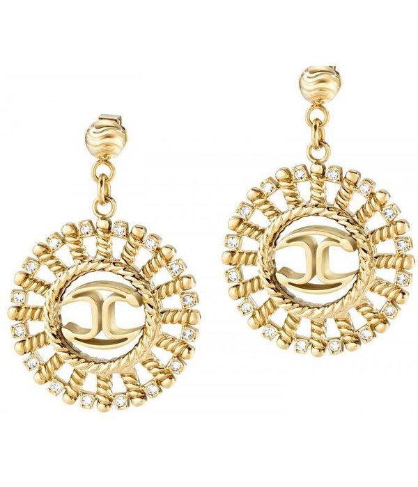 JUST CAVALLI SCAGB03 Just Sun oorhangers met kristallen in goud kleurig edelstaal