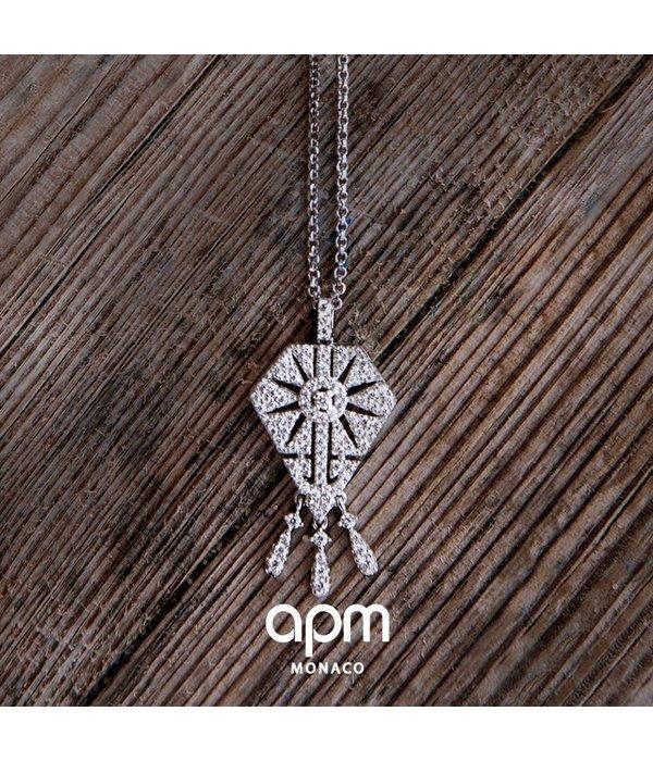 """APM MONACO AP10105OX Collier """"1930"""" en argent avec cristaux"""