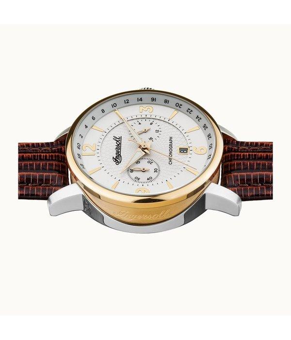 INGERSOLL I00602 Die Grafton Herrenuhr, Chronograph mit braunem Lederarmband