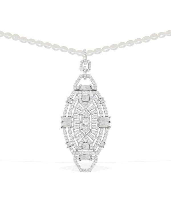 """APM MONACO AP9544OX """"1930"""" Collectie halsketting in zilver met kristallen en parel ketting"""