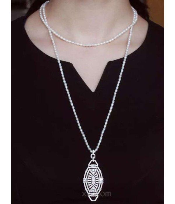 """APM MONACO AP9544OX """"1930"""" Collection Halskette aus Silber mit Kristall und Perlenkette"""