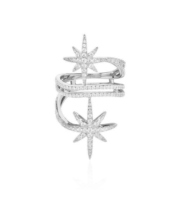 APM MONACO A17080OX Meteorites ring in silver with crystal