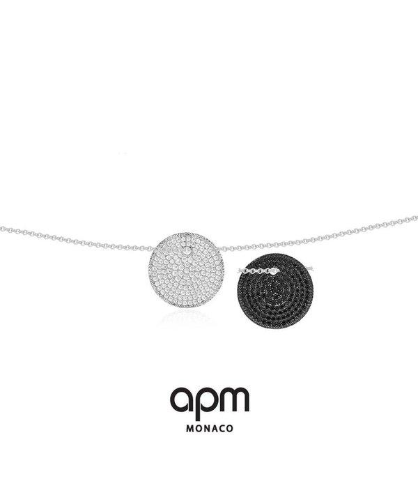 APM MONACO Collier AP10131BZX Luna en argent avec des cristaux noirs et blancs