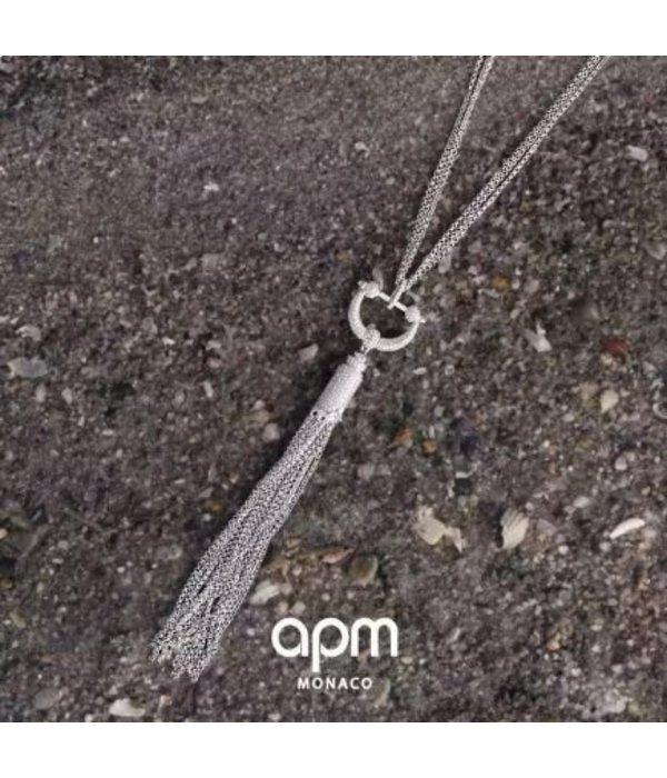 APM MONACO AP10068OX Talisman halsketting in zilver met kristallen