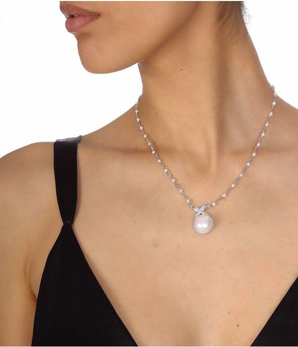 APM MONACO AC2918XPL Perles Halskette aus Silber 925% mit Kristallen und Perlen