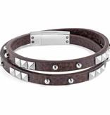SECTOR SADP05 Rock-Armband aus braunem Leder