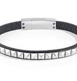 SECTOR SADP01 Rock-Armband aus schwarzem Leder mit silberfarbener Edelstahl