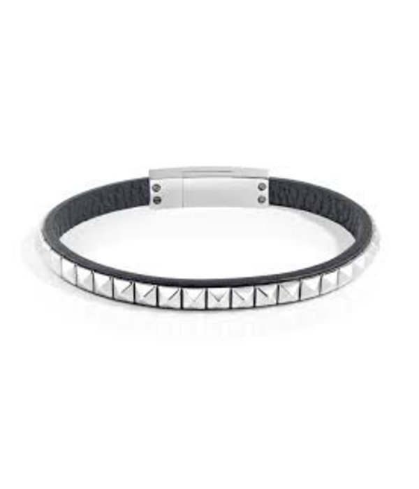 SECTOR SADP01 Rock bracelet in black leather with silver-colored stainless steel