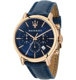 MASERATI  Epoca - R8871618007 - watch - chronograph - leather - blue - rosé color - 42mm