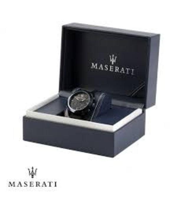 MASERATI  Epoca - R8871618009 - horloge - chronograaf - leer - zilverkleurig - 42mm