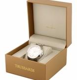 TRUSSARDI First R2451112003 - herenhorloge - leer - zilverkleurig - 43mm