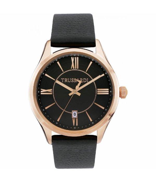 TRUSSARDI Première R2451112001 - Montre pour homme - cuir - couleur rose - 43mm