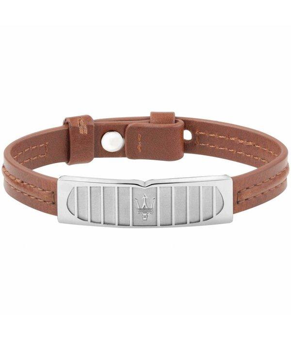 MASERATI  JM417AKV07 - Armband - Leder - Braun und Silber - 23.5Cm