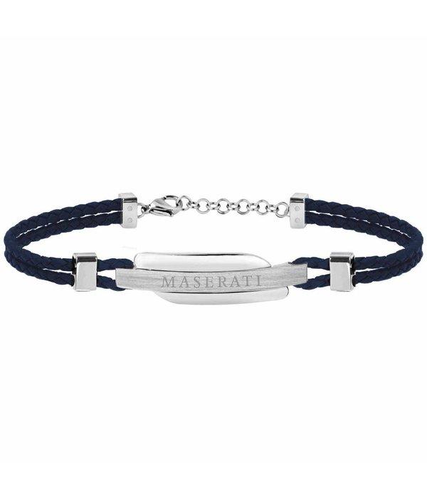 MASERATI  JM417AKW06 Bracelet - Leather - Blue and Silver - 22 CM