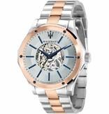 MASERATI  Circuito R8823127001 - heren horloge - automaat - rosé en zilverkleurig - 44mm