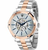 MASERATI  Circuito R8823127001 - men's watch - automatic - pink and silver colored - 44mm