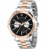 MASERATI  Circuito R8873627004 - heren horloge - chronograaf - rosé en zilverkleurig - 44mm