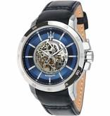 MASERATI  Ingegno R8821119004 - horloge - automaat - leer - blauw kleurig - 45mm