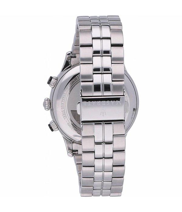 MASERATI  Ricordo R8873633001 - heren horloge - chronograaf - blauwe wijzerplaat - zilver kleurig - 42mm