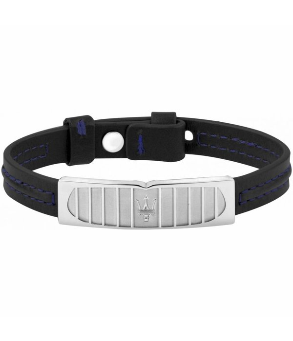 MASERATI  Prestige JM417AKV08 bracelet - leather - black and silver - 250mm