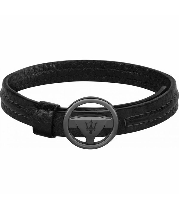 MASERATI  JM118AMC08 bracelet - leather - black color - 250mm