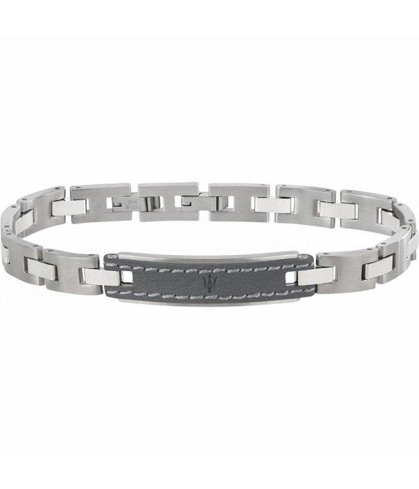 MASERATI  JM218AMD02  armband - leer - zilverkleurig - 215mm